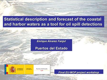 Statistical description and forecast of the coastal and harbor waters as a tool for oil spill detections Enrique Álvarez Fanjul Puertos del Estado Final.
