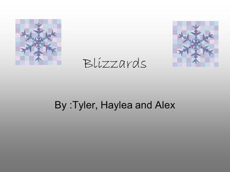 Blizzards By :Tyler, Haylea and Alex. What is a Blizzard? A Blizzard is a snowstorm with very strong winds.