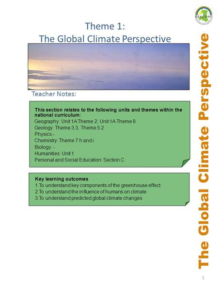 1 The Global Climate Perspective Key learning outcomes 1.To understand key components of the greenhouse effect 2.To understand the influence of humans.