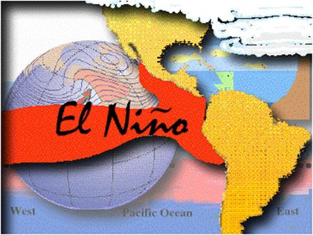 El Niño El Niño is a variation in the ocean and atmospheric temperatures in the Pacific Ocean. When the ocean temperature increases it causes ocean currents.