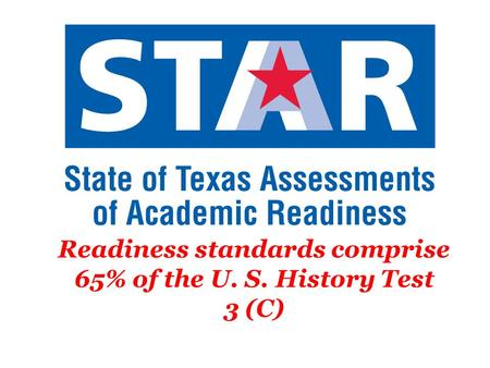 Readiness standards comprise 65% of the U. S. History Test 3 (C)