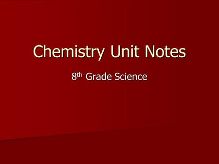 Chemistry Unit Notes 8 th Grade Science Basic Vocabulary  Matter: Anything that has mass and volume  Mass: Amount of matter in an object  Weight: