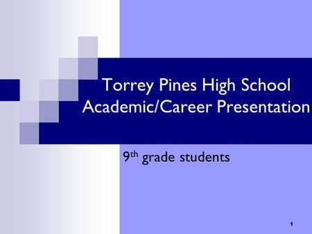 1 Torrey Pines High School Academic/Career Presentation 9 th grade students.