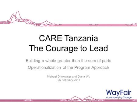 CARE Tanzania The Courage to Lead Building a whole greater than the sum of parts Operationalization of the Program Approach Michael Drinkwater and Diana.