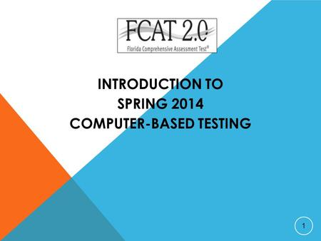 INTRODUCTION TO SPRING 2014 COMPUTER-BASED TESTING 1.