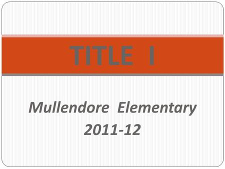 TITLE I Mullendore Elementary 2011-12. What is the legal framework for Title I?  Elementary and Secondary Education Act of 1965  No Child Left Behind.