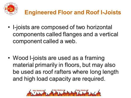 Engineered Floor and Roof I-Joists I-joists are composed of two horizontal components called flanges and a vertical component called a web. Wood I-joists.