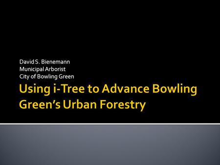 David S. Bienemann Municipal Arborist City of Bowling Green.