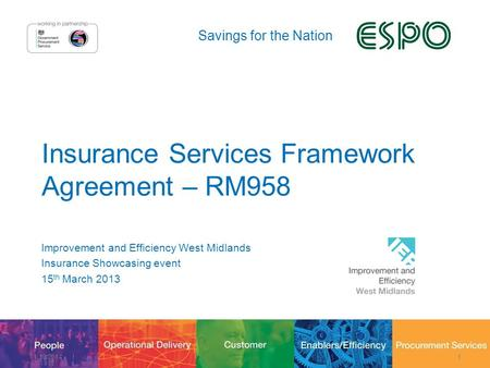 Savings for the Nation Insurance Services Framework Agreement – RM958 Improvement and Efficiency West Midlands Insurance Showcasing event 15 th March 2013.