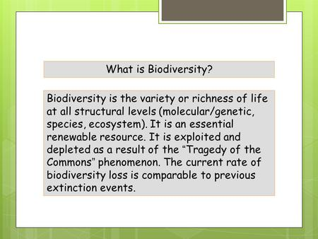 Biodiversity is the variety or richness of life at all structural levels (molecular/genetic, species, ecosystem). It is an essential renewable resource.