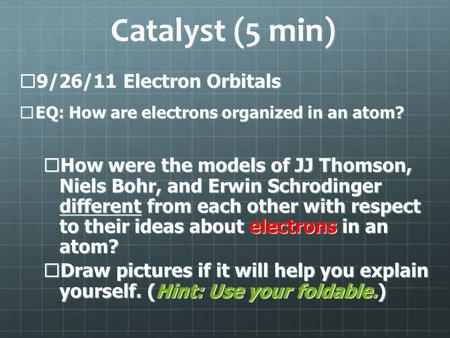 Catalyst (5 min)  9/26/11 Electron Orbitals  EQ: How are electrons organized in an atom?  How were the models of JJ Thomson, Niels Bohr, and Erwin Schrodinger.