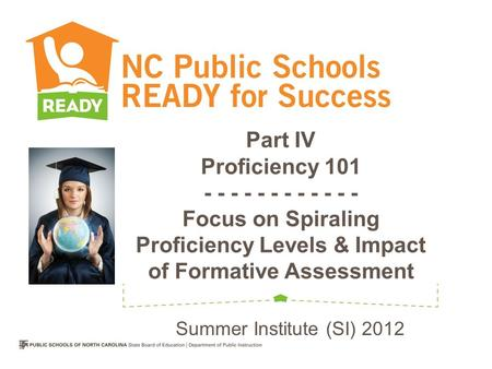 Part IV Proficiency 101 - - - - - - - - - - - - Focus on Spiraling Proficiency Levels & Impact of Formative Assessment Summer Institute (SI) 2012.