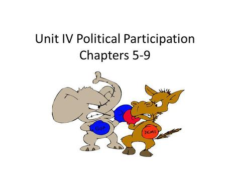 Unit IV Political Participation Chapters 5-9. What is a political party? A group of people who seek to control government by winning elections and holding.