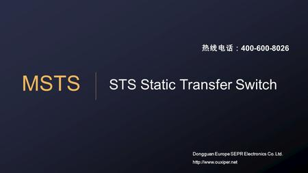 MSTS STS Static Transfer Switch Dongguan Europe SEPR Electronics Co. Ltd.  热线电话: 400-600-8026.