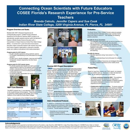 Connecting Ocean Scientists with Future Educators COSEE Florida's Research Experience for Pre-Service Teachers Brenda Cetrulo, Jennifer Capers and Sue.