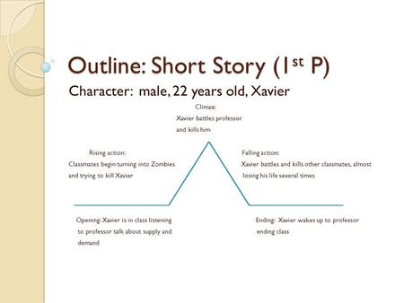 Outline: Short Story (1 st P) Character: male, 22 years old, Xavier Climax: Xavier battles professor and kills him Rising action: Falling action: Classmates.