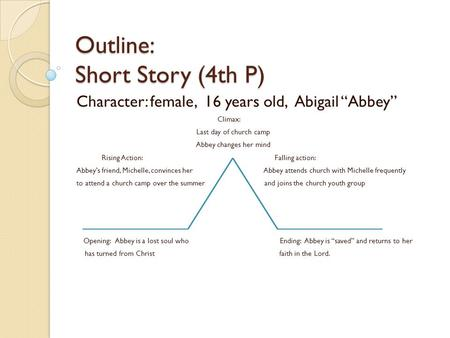 "Outline: Sh Outline: Short Story (4th P) Character: female, 16 years old, Abigail ""Abbey"" Climax: Last day of church camp Abbey changes her mind Rising."