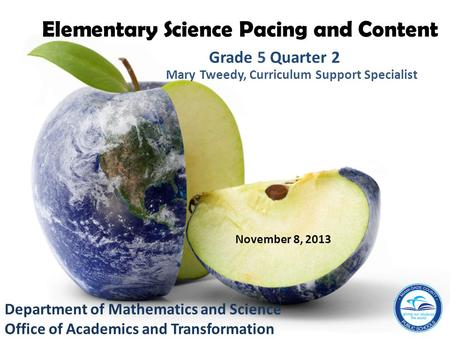 Elementary Science Pacing and Content