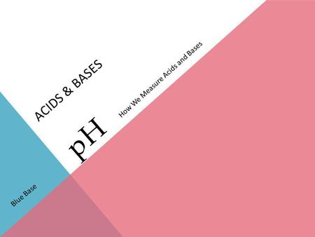 Acids & Bases How We Measure Acids and Bases pH Blue Base.