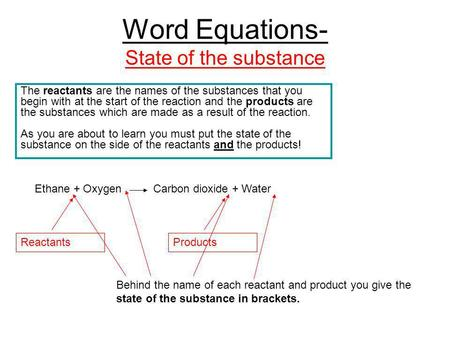 Word Equations- State of the substance The reactants are the names of the substances that you begin with at the start of the reaction and the products.