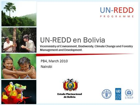UN-REDD en Bolivia Viceministry of Environment, Biodiversity, Climate Change and Forestry Management and Development. PB4, March 2010 Nairobi.