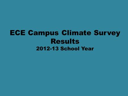 ECE Campus Climate Survey Results 2012-13 School Year.
