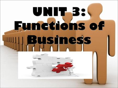 UNIT 3: Functions of Business UNIT 3: Functions of Business.