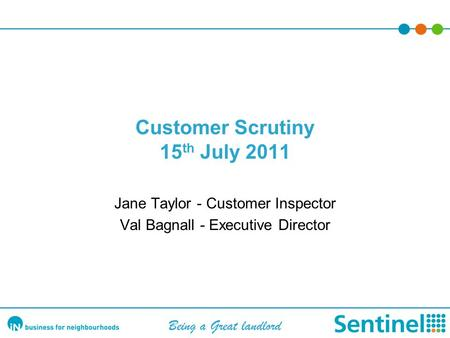 Customer Scrutiny 15 th July 2011 Jane Taylor - Customer Inspector Val Bagnall - Executive Director Being a Great landlord.