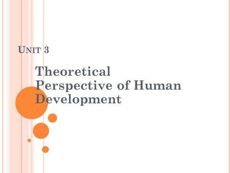U NIT 3 Theoretical Perspective <strong>of</strong> Human Development.