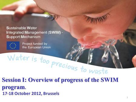 Session I: Overview of progress of the SWIM program. Session I: Overview of progress of the SWIM program. 17-18 October 2012, Brussels 1.