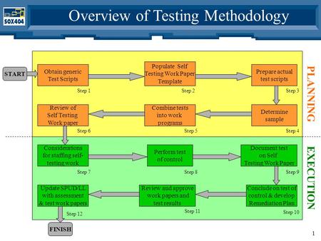 1 Overview of Testing Methodology Obtain generic Test Scripts Populate Self Testing Work Paper Template Prepare actual test scripts Determine sample Combine.