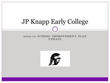 2009-10 SCHOOL IMPROVEMENT PLAN UPDATE JP Knapp Early College.