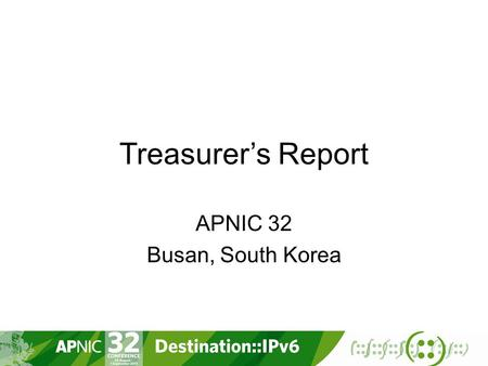 Treasurer's Report APNIC 32 Busan, South Korea. Overview Implemented New Non-Member Fee Schedule Financial status Year To Date June 2011 Reported surplus: