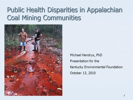 1 Public Health Disparities in Appalachian Coal Mining Communities Michael Hendryx, PhD Presentation for the Kentucky Environmental Foundation October.