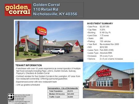 INVESTMENT SUMMARY Sale Price:$2,297,300 Cap Rate:9.25% Building8,149 Sq. Ft. Land Size:1.75 acres Seats:280 Parking:130 vehicles Year Built:Re-modeled.