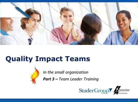 Quality Impact Teams In the small organization Part 3 – Team Leader Training.