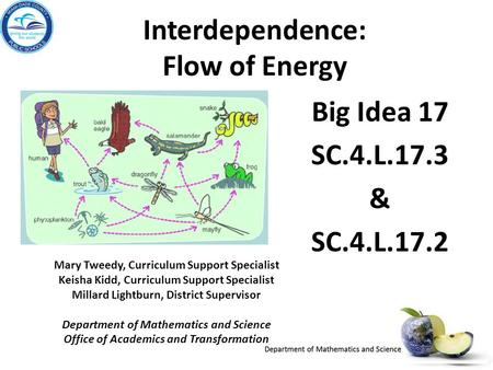 Interdependence: Flow of Energy Big Idea 17 SC.4.L.17.3 & SC.4.L.17.2 Mary Tweedy, Curriculum Support Specialist Keisha Kidd, Curriculum Support Specialist.