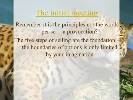 The initial meeting Remember it is the principles not the words per se. – a provocation? The five steps of selling are the foundation – the boundaries.