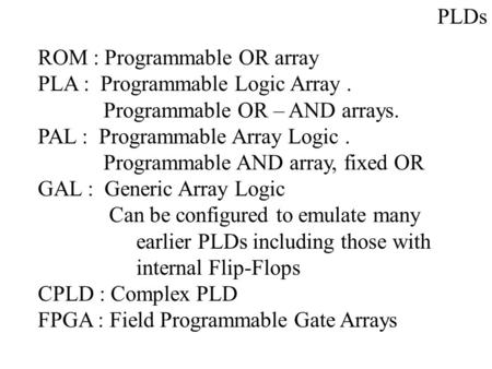 PLDs ROM : Programmable OR array