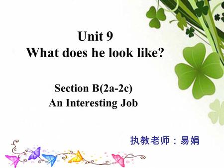 Unit 9 What does he look like? Section B(2a-2c) An Interesting Job 执教老师:易娟.