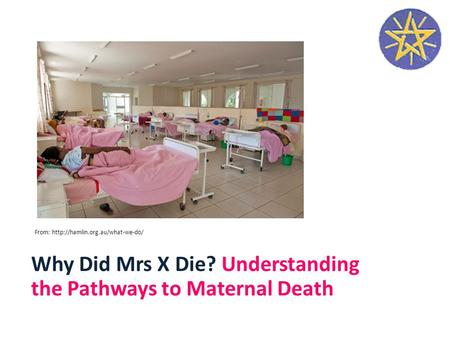 Why Did Mrs X Die? Understanding the Pathways to Maternal Death From: