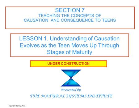 Copyright ed young, Ph.D. 1 SECTION 7 TEACHING THE CONCEPTS OF CAUSATION AND CONSEQUENCE TO TEENS UNDER CONSTRUCTION Presented by THE NATURAL SYSTEMS INSTITUTE.
