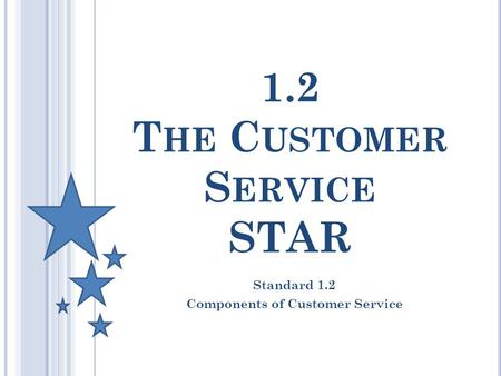 1.2 T HE C USTOMER S ERVICE STAR Standard 1.2 Components of Customer Service.