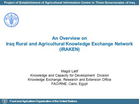 Iraq Rural and Agricultural Knowledge Exchange Network (IRAKEN)