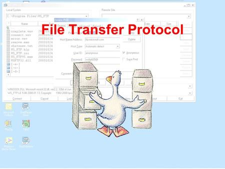 File Transfer Protocol. FTP (File Transfer Protocol) is used to transfer programs or other information from one computer to another. This simple tool.