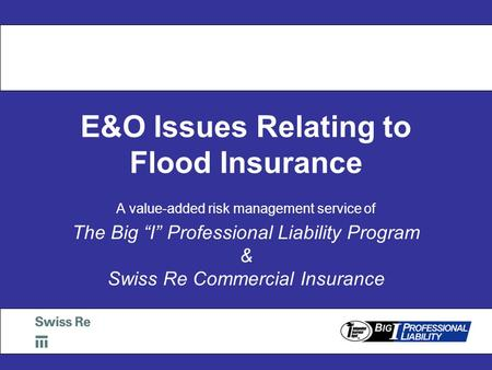"E&O Issues Relating to Flood Insurance A value-added risk management service of The Big ""I"" Professional Liability Program & Swiss Re Commercial Insurance."