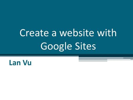 Create a website with Google Sites