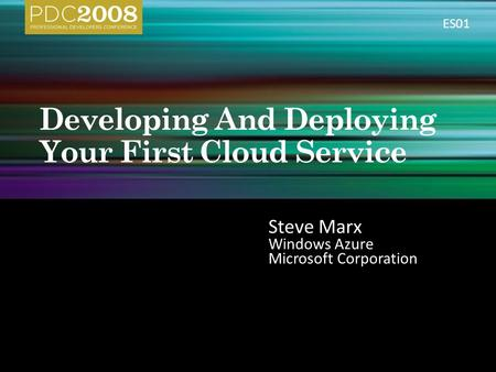 Steve Marx Windows Azure Microsoft Corporation ES01.