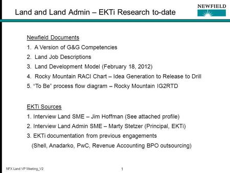 NFX Land VP Meeting_V2 1 Land and Land Admin – EKTi Research to-date Newfield Documents 1. A Version of G&G Competencies 2. Land Job Descriptions 3. Land.