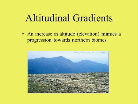 Altitudinal Gradients An increase in altitude (elevation) mimics a progression towards northern biomes.